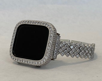 White Gold Apple Watch Band Woman's Silver 3mm Stones Lab Diamond Bezel For Iphone Watch 38mm 40mm 42mm 44mm Custom Handmade