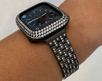 Black Apple Watch Band Crystal & or Lab Diamond Bezel Case Cover 38 40 42 44mm