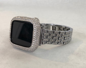 Bling Apple Watch Band Women's & or Silver Lab Diamond Bezel Cover Iwatch Case 38 40 42 44mm Iphone sb1
