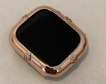 Apple Watch Bezel Cover Rose Gold with Lab Diamonds Metal Case for 40 44mm Custom Handmade