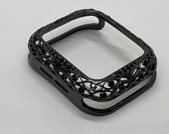 Black on Black Apple Watch Bezel Cover CZ Metal Cover Lace Rhinestones 38mm 40mm 42mm 44mm Series 6 Handmade