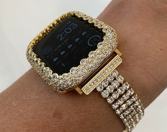 Custom Gold Apple Watch Band Women 38 40 42 44mm Crystal and or Lab Diamond Bezel Cover Iwatch Bling Series 6 SE Hand Made