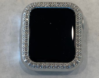 Custom 38mm 40mm 42mm 44mm Apple Watch Bezel Cover Silver Rhinestone Crystals Iwatch Band Bling Series 6 SE PV bzl Hand Made