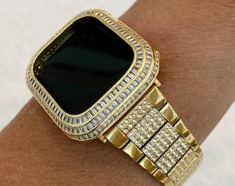 Bling Gold Apple Watch Band 41mm 44mm & or Lab Diamond Baguette Bezel Cover Handmade