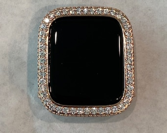 Apple Watch Bezel Cover for Iwatch Band Bling with 2.5mm Lab Diamonds in Rose Gold Metal Case  bzl