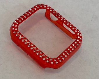Red Apple Watch Band Cover Bezel Iwatch Case Crystal Faceplate Series 6 SE Iphone Case pv bzl