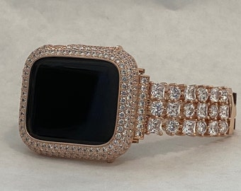 Rose Gold Apple Watch Band 42mm and or Iwatch Bling Lab Diamond Bezel Cover 38mm 40mm 44mm Series 6 Handmade