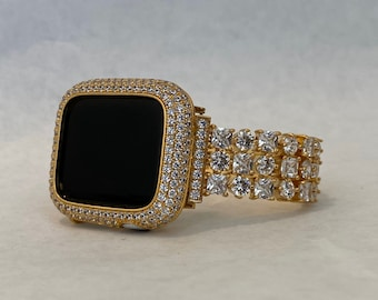 Gold Apple Watch Band 42mm and or Iwatch Bling Lab Diamond Bezel Cover 38mm 40mm 44mm Series 6 gb1