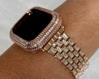 Rose Gold Apple Watch Band with Baguettes & or Lab Diamond Baguette Bezel Cover 40mm 44mm Custom Handmade