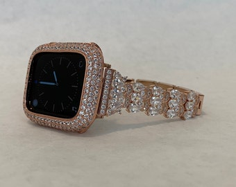 Apple Watch Band 38mm Rose Gold  and or Pave Lab Diamond Bezel Iwatch Bling 40mm 42mm 44mm Series 6 Custom Handmade