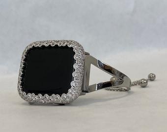 Apple Watch Band Silver and or Lab Diamond Bezel Iwatch Bangle sb1