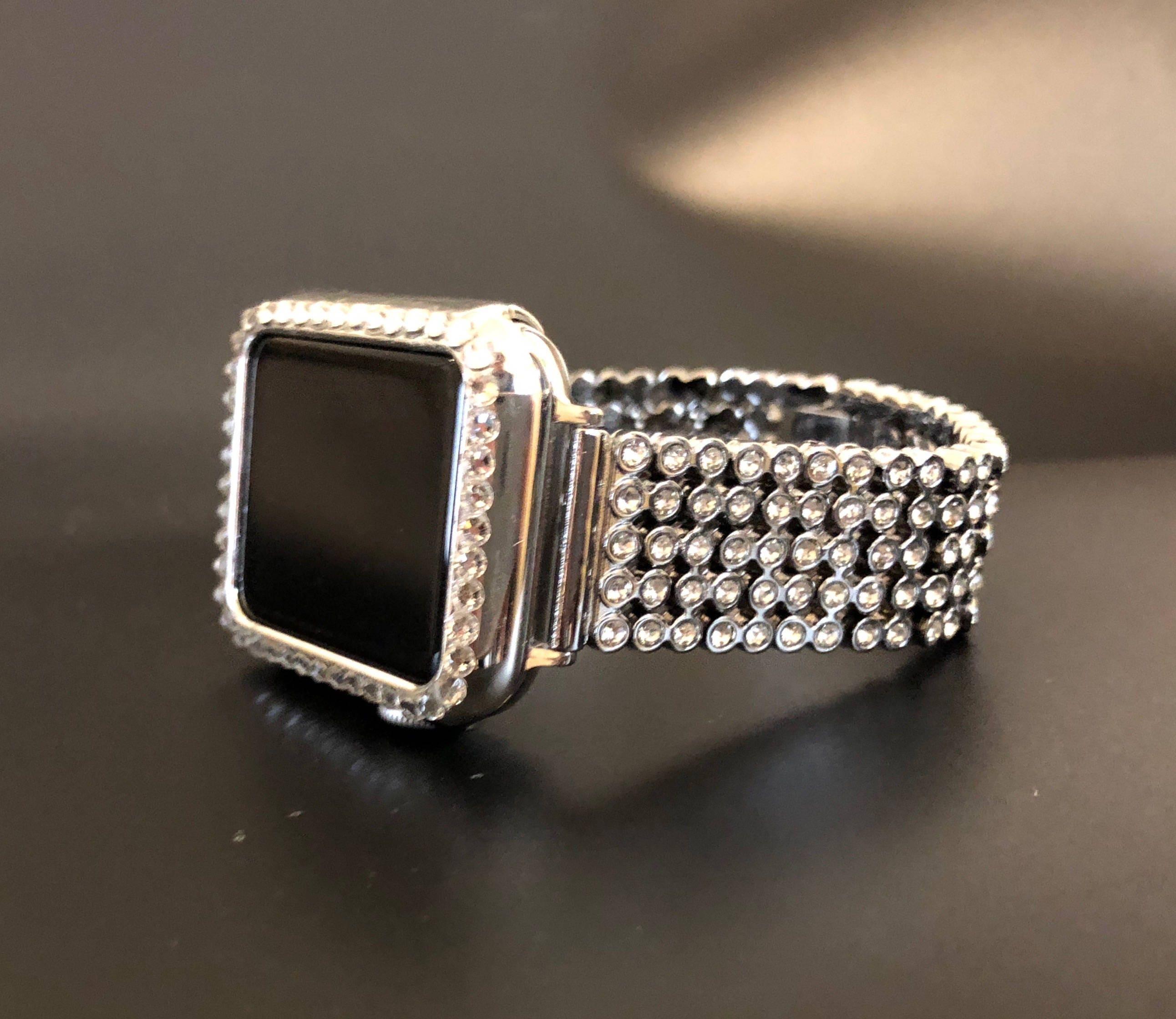 meet 7287d ba307 Apple Watch Band 38mm 42mm Series 1,2,3 Women's Silver Rhinestone ...