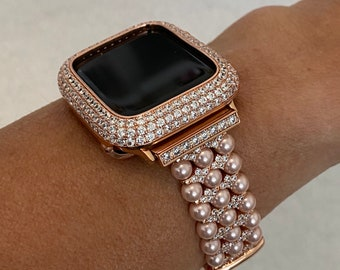 Inspired Apple Watch Band Women 38 40 42 44mm Rose Gold Pearl Pink and or Lab Diamond Bezel Cover Iwatch Bling Series 6 Custom Handmade