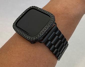 Apple Watch Band Black Rolex Style & or Lab Diamond Bezel Case Cover 38 40 42 44mm Custom Handmade