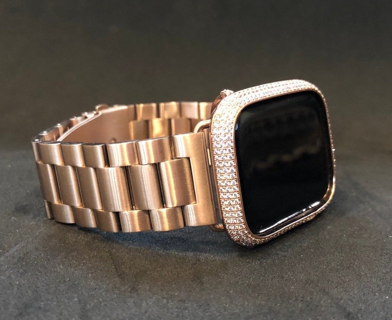 Rose Gold Apple Watch Band 38mm Stainless Steel Rolex Iwatch Band Apple Watch Cover Diamond Bezel Bling Iwatch Cover