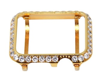 Gold Apple Watch Bezel Bling 38mm-44mm, Lab Diamond 3mm Iwatch Case Cover Iwatch Band Bling