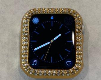 Custom Gold Apple Watch Bezel Cover Rhinestone Crystal 38mm 40mm 42mm 44mm Bling Series 6 SE pv bzl Hand Made