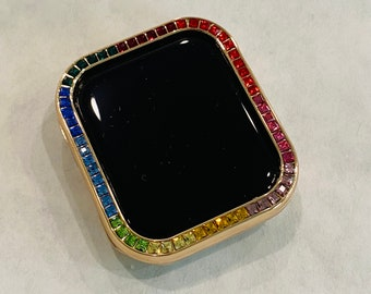 Rose Gold Apple Watch Bezel Cover with Rainbow Crystals 38 40 42 44mm Series 2-6 Custom Handmade