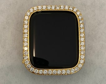 Gold Apple Watch Bezel Cover 40mm 44mm with Lab Diamonds Metal Bumper Case FC