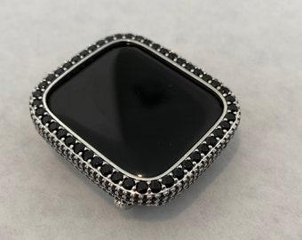 Apple Watch Bezel Cover Silver With Black Lab Diamonds, Metal Iwatch Band Bumper Case 2.5mm Series 6 Custom Handmade