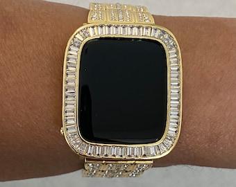 Apple Watch Bezel Bumper Cover 38mm 40mm 42mm 44mm Gold Metal Baguette Iwatch Case Bling Series 6 SE bzl