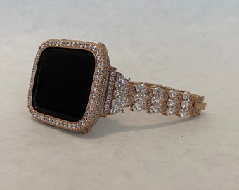 Apple Watch Band 38mm Women's Rose Gold and or Lab Diamond Bezel Bumper Iwatch Bling 38mm 40mm 42mm 44mm Gift for HerRPB1