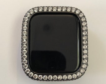 Apple Watch Bezel Cover Lab Diamond Bumper Black Metal 38mm 40mm 42mm 44mm series 6 SE Custom Handmade