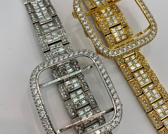Apple Watch Band 2.5mm Lab Diamonds & or Lab Diamond Bezel Cover In 38,40,42,44mm Silver or Gold