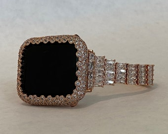 Bling Apple Watch Band Women Rose Gold & Or Pave Bezel Cover Lab Diamonds 38mm 40mm 42mm 44mm Series 6 SE rpb1