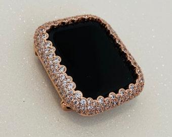 Apple Watch Bezel Cover Rose Gold Lab Diamond Bling 38mm 40mm 42mm 44mm Series 1,2,3,4,5,6,SE Custom Handmade