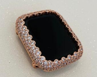 Bling Apple Watch Bezel Cover Rose Gold Lab Diamond Case 38mm 40mm 42mm 44mm Series 6 SE bzl