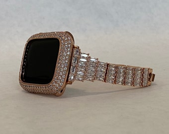 Custom Made Series 7 Apple Watch Band 41mm 45mm Swarovski Crystal Apple Watch Straps BAND ONLY