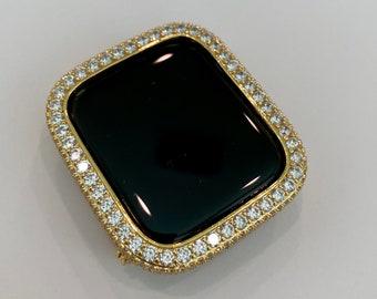 Gold Apple Watch Bezel Cover Lab Diamond Bezel Metal Case Iwatch Band Bling Series 1,2,3,4,5,6,SE  bzl