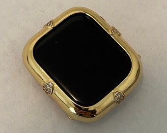 Custom Gold Apple Watch Bezel Cover With Lab Diamonds Metal Iphone Watch Bumper Case 40 44mm Series 4 5 6 Hand Made