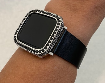 Apple Watch Band Leather Black and or Black & Silver 2.5mm Lab Diamond Bezel Cover Iwatch Case Bling Series 6 SE blb1