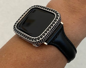 Apple Watch Band Women Leather Black Slim and or Black-Silver Lab Diamond Bezel Cover Iwatch Case Bling Series 6 blb1