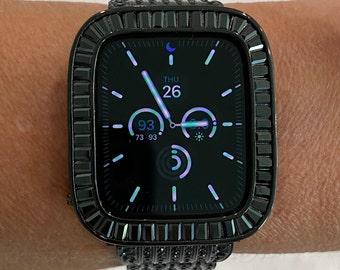 Apple Watch Bezel Cover Black on Black Metal Baguette Iwatch Case Bling 38 40 42 44mm Bumper Only