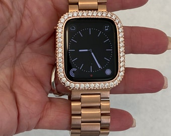 Apple Watch Band Women Rose Gold and or Lab Diamond Bezel Cover 38mm 40mm 42mm 44mm S6 Custom
