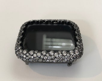 Custom Apple Watch Cover 38mm Women Black Lab Diamond Bezel Case Bling- Iced Out Iwatch Band Bling Series 6 SE Handmade