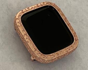 Apple Watch Bezel Cover Women's Rose Gold Metal Iwatch Case Bumper 40mm 44mm FC