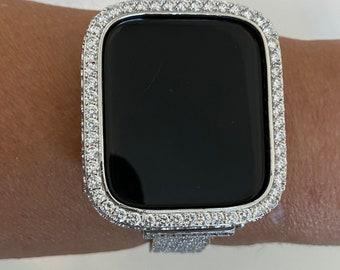 Silver 2.5mm Lab Diamond Apple Watch Bezel Cover 40mm 44mm Custom Handmade