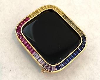 Custom Rainbow Apple Watch Bezel Cover 40mm 44mm Gold  Lab Diamond Iwatch Case Bling Series 6 SE Hand Made