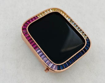 Rainbow Apple Watch Bezel Cover 40mm 44mm Rose Gold Lab Diamond Iwatch Case Bling