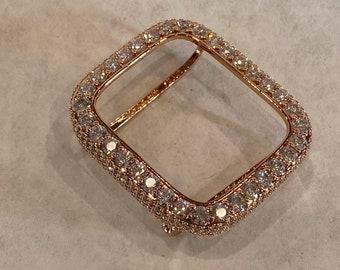 Apple Watch Bezel Cover 3.5mm Lab Diamond Bezel Case Iwatch Band Bling 38mm 40mm 42mm 44mm Rose Gold bzl