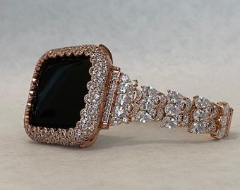 Boho Bride Apple Watch Band 41mm 45mm Rose Gold Series 7 BAND ONLY & 38mm-44mm Custom Handmade