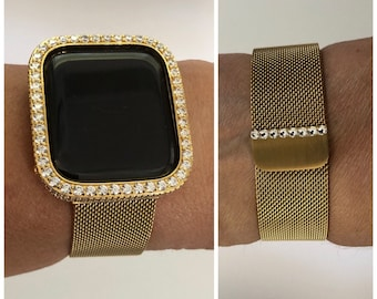 Gold Apple Watch Band Milanese Loop Iwatch Band Swarovski Crystal and or Lab Diamond Bezel Cover Series 6 gb1