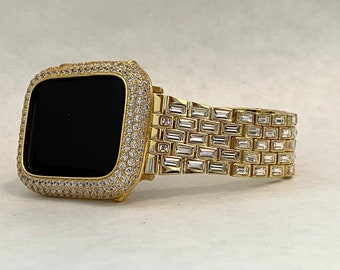 Gold Apple Watch Band Swarovski Crystal Baguettes 38mm 40mm 42mm 44mm & or Pave Lab Diamond Bezel Cover Custom Handmade