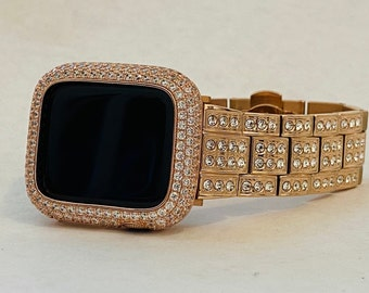 Apple Watch Band Rose Gold 38mm 40mm 42mm 44mm Lab Diamonds & or  Lab Diamond Bezel Case Cover