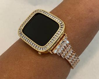 38mm 40mm 42mm 44mm Apple Watch Band Women Gold & or Bezel Cover Lab Diamonds Series 6 SE Custom Handmade