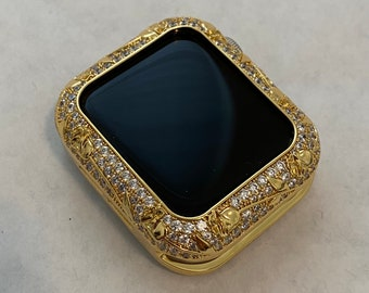 CZ Apple Watch Bezel Cover Gold Metal Cover Floral Design Inset Rhinestones 38mm 40mm 42mm 44mm Series